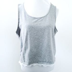 Fabletics Melinda Gray French Terry Tank Lace Trim